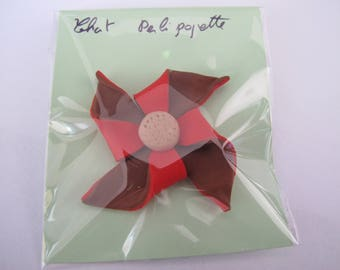Brown and Red windmill brooch