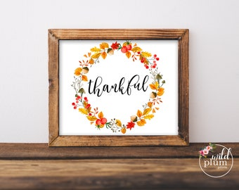 Thankful Fall Printable- Instant Download