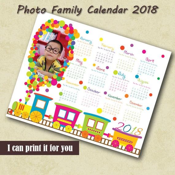 Kids Photo Calendar 2018 Template Calendar Custom Photo