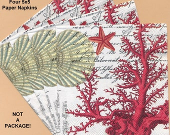 PN015 Paper Napkins by Michael Design Works ~ Four 5x5 or Three 4.5 x 8 - Red Coral, Starfish, Seashells, Shells, Seahorse