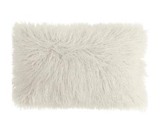 Pure White Shaggy Faux Fur Lumbar   Designer Pillow   Accent Pillow