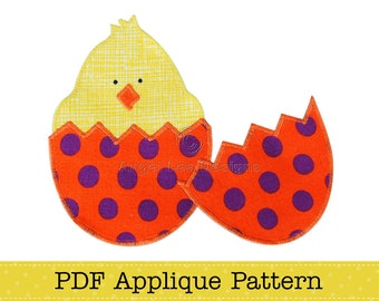 Chicken in Easter Egg Applique Template. Easter Chick in Egg Applique Pattern PDF File for Fusible Web Applique
