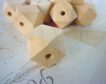 Geometric Wooden Beads - Natural - 20mm - Pack of 10