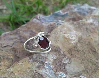 Garnet Stone Ring Handmade & Silver