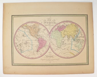 Real antique world map 1862 johnson map of world ocean original 1852 antique world map of the world hemisphere map 1852 mitchell cowperthwait map gumiabroncs Choice Image