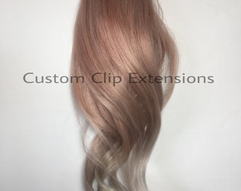 Rose Balayage Hair Extensions : Rose Clip in Hair Extensions, Rose Hair Extensions, Rose Hair, Custom Hair Extensions, Clip in