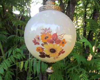 Vintage MID CENTURY HANGING Swag Lamp Hand Painted Glass
