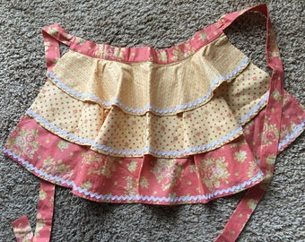 Old Fashioned Half Apron With Ruffles and Rick Rack