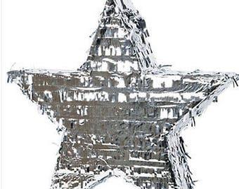 Foil Silver Star Wedding Piñata 18X17X3 inches