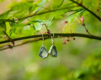 Aquamarine crystal Earrings - Raw Aquamarine Gemstone Earrings - Aquamarine Jewelry