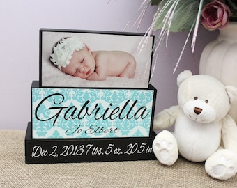 Nursery Decor, Baby Name Wooden Blocks, Unique New Baby Gift, Personalized Birth Announcement Wood Sign, Baby Room Decor, Baby Shower Gift