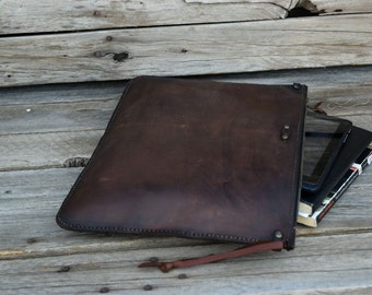 Large Leather Portfolio / Handmade Leather Pouch / Mens Zipper Bag / Leather Clutch / Large Zipper Clutch / Feral Empire