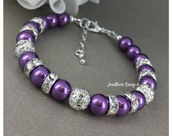 Purple Bracelet Plum Bracelet Earrings Set Bridesmaid Gift for Her Wedding Jewelry Pearl and Rhinestones Bracelet Maid of Honor Gift