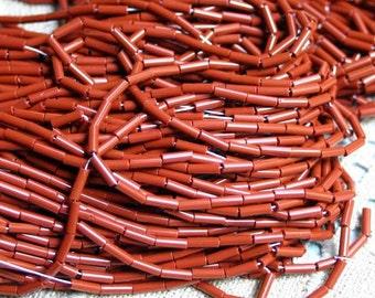 1/2 kg Seed Bugle Beads 6x2mm Opaque Brown Preciosa Czech Glass