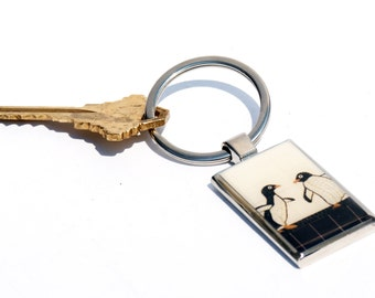 KEYCHAIN - Penguin Photo Keychain - Valentine's Day