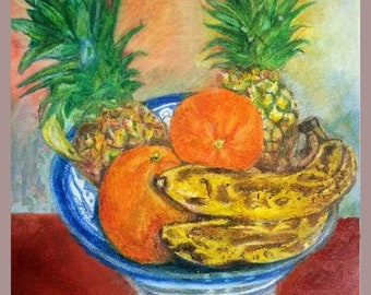 Bowl of ripened fruits oranges bananas oil pastels bright colors high resolution printable wall art