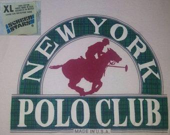 Vintage 80's New York Polo Club T-shirt XL Screen Stars