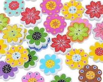 6 flowers 20 mm wooden buttons