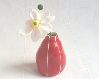 Ceramic bud vase, handmade and personal. Small gift  in pastel green, red, blue and more. Modern style pottery gift