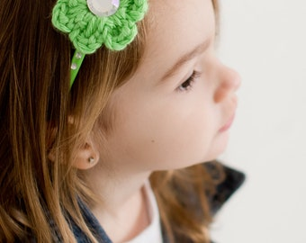 CLEARANCE Lime Green Headband Lime Headband Toddler Headband Toddler Girl Headband Crochet Flower Headband Rhinestone Headband Spring Summer