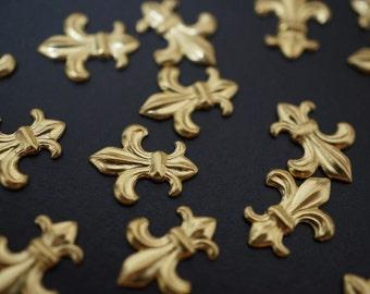 Raw Brass Fleur De Lis Little Ornaments - 25 pcs