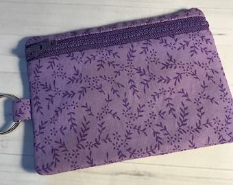 Zipper Coin Card Holder Mini Wallet Pouch Purple