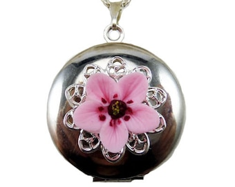 Cherry Blossom Locket Necklace - Cherry Blossom Jewelry Collection, Sakura Jewelry