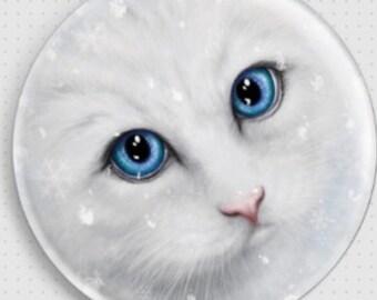 Cat Needle Minder, Winter Cat by SheBlackDragon, Cross Stitch Accessory, Cross-Stitch Pin Keeper, Fridge Magnet, Pin Minder, Cat Magnet