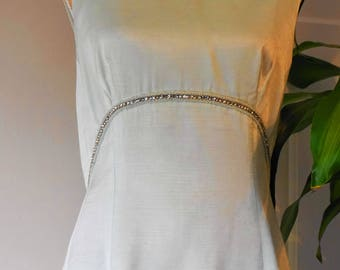 Classic 1950s Evening Gown // Vintage Dress // 1950s Fashion // Pale Green Evening Dress.