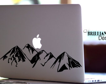Mountain Range, Mountain Decal, Mountain Sticker, Adventure Awaits, Laptop Decal, Car Decal, Macbook Decal, Laptop Sticker, Macbook Sticker