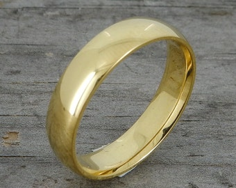 Recycled Wedding Band, 18k Yellow Gold, 5mm Wide, Comfort-Fit, Polished, Eco-Friendly, Ethical, Simple, Classic, Made to Order