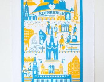 Edinburgh Tea Towel   City illustration   Edinburgh print   Scotland art   Housewarming gift   New home gift