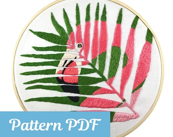 Hand Embroidery Pattern, Hand Embroidery PDF, Embroidery Design, PDF Pattern, Flamingo Pattern, Embroidery Download, Hoop Art Pattern