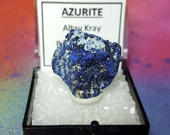 Rare AZURITE Bright Blue Crystal Mineral Specimen In Perky Box From Russia
