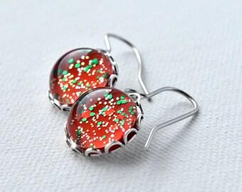 Red Earrings - Glitter Earrings - Christmas Earrings - Gift for Her - Hypoallergenic - Red and Green - Christmas Gift - Festive Earrings