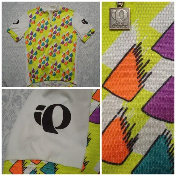 Vintage Retro Men's Pearl Izumi Cycling Shirt Yellow Triangle Pattern Short Sleeve XL Exfiqrey