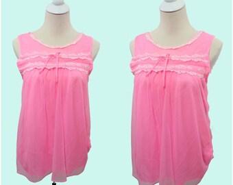 Vintage 50s 60s Bubblegum Pink Chiffon Baby Doll Nightie Top