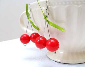 Cherry Earrings - bright red - reclaimed wooden beads - dangling - gift under 10 dollar