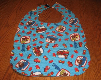 Handmade Adult bib quilted Curious George Fireman monkey