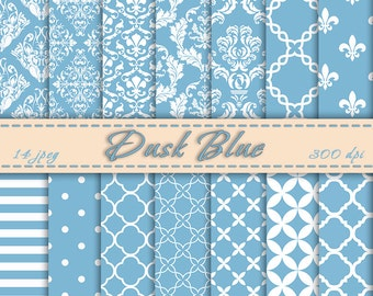 Instant Download - Dusk Blue Digital Paper, Scrapbooking Paper, Printable, Digital Downloads, Peper Pack
