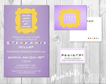 Friends TV Show Bridal Shower Invitation Package - Invitation, Thank You Card, and Registry Card