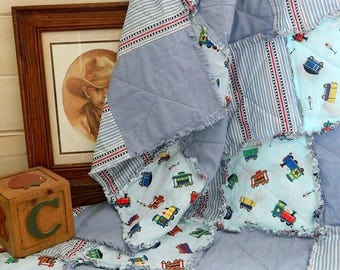 Boy's Rag Quilt Throw - Blue Lightweight Cotton Quilted Rag Quilt Throw - Toy Trains - READY TO SHIP