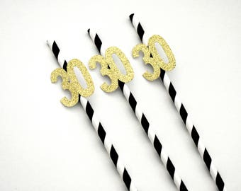 30th Birthday Decorations, 30th Anniversary Decorations, Thirty and Flirty,  Age 30 Straws, Black  Gold 30th Birthday, Black and Gold Straws
