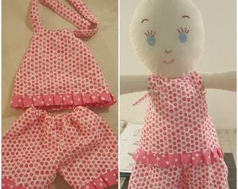 """doll clothes,bitty baby doll clothes, capri,ruffles,halter, 15"""" doll, baby doll clothes, baby doll outfit,"""