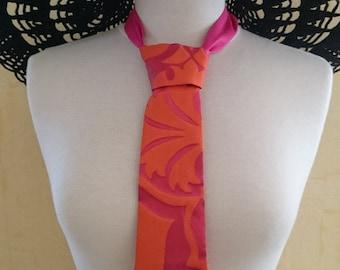 Fuschia and Orange Jacquard Fabric Tie