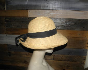 Scala Staw Hat w/ Black Grosgrain Ribbon and Trim Made in USA
