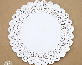 """14"""" Lace White Round Paper Doilies"""