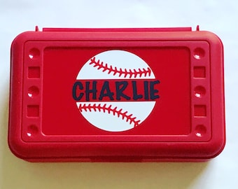 Personalized Pencil Box, Baseball Pencil Box, Back to School, School Supplies, Pencil Case, Pencil Box, Baseball, Softball Pencil Box