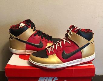 Custom handpainted Nike dunks hi top