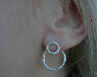 Earring jackets in sterling silver, double sided earrings, double circle silver earring jackets